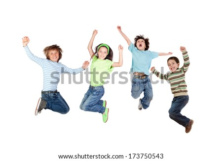 Four joyful children jumping isolated on a white background - stock photo