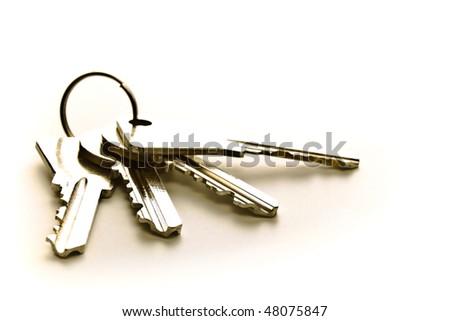 four keys isolated on white background - stock photo
