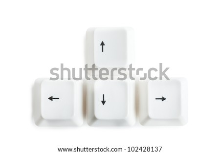 Four keys of keyboard with arrows - stock photo