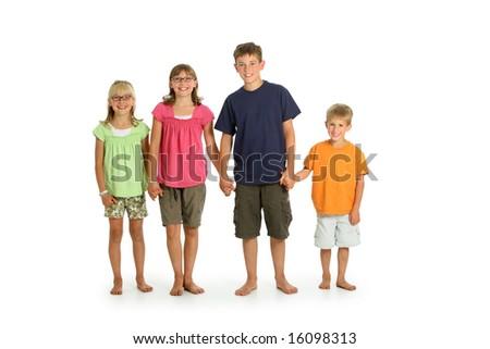 Four kids on white background - stock photo