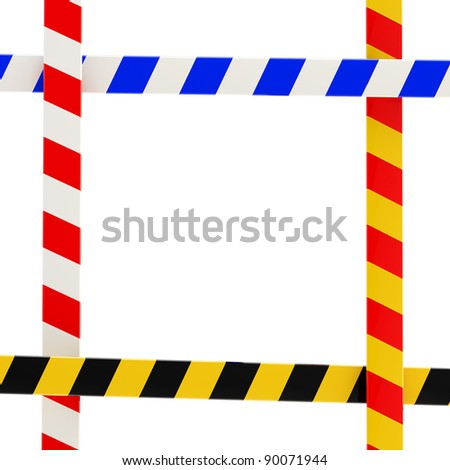 Four kinds of barrier tape forming a colorful glossy frame on white - stock photo