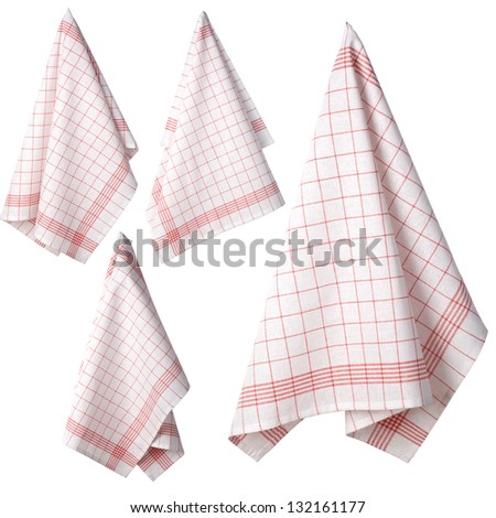 four Kitchen towel isolated on white background - stock photo