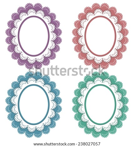 Four lace multicolored frames isolated on white - stock photo