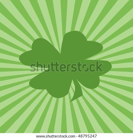 Four-leaf clover and green sunburst - stock photo