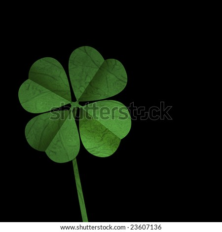 Four leaf clover on Black background, ideal for St Patrick's day - stock photo