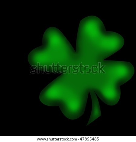 four-leaved clover isolated on black - stock photo