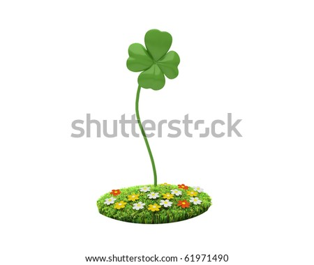 four-leaved clover on grassy islet with flowers - stock photo