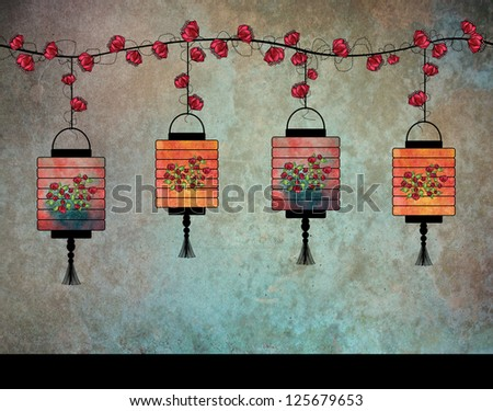 Four lovely paper lanterns with some flowers hanging on a wire on a blue textured background. - stock photo