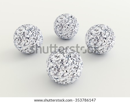 four marble bowls - rendered 3D-Illustration - stock photo