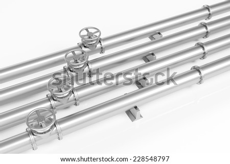 Four metall pipelines with valves for gas and oil (3D Rendering) - stock photo