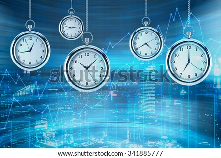 Four models of pocket watches are hovering in the air over financial graphs background. A concept of a value of time in financial markets. New York view on background. 3D rendering. - stock photo