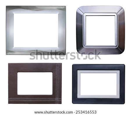 Four modern picture frames pack,silver,aluminum,leather and plastic. - stock photo