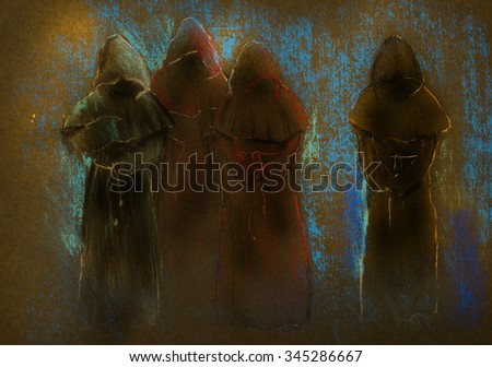 four monks in the Dark - stock photo
