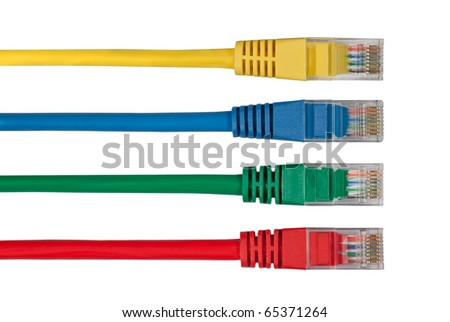 Four Multi Colored Network Cables. Red, Yellow, Green, Blue Color - stock photo