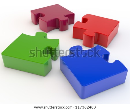 four multi-colored parts of a puzzle - stock photo