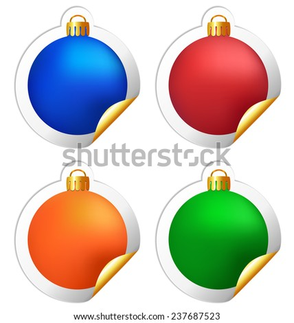 Four multicolored Christmas balls stickers isolated on white background - stock photo