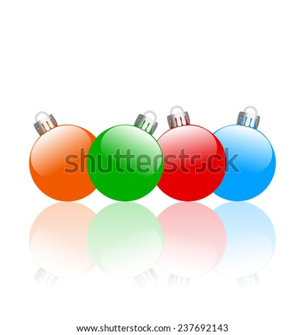 Four multicolored christmas balls with reflection isolated on white background - stock photo