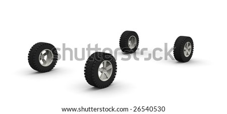 Four new off-road car wheels isolated on the white background. Side view - stock photo