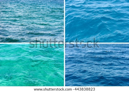 Four ocean water surface texture - stock photo