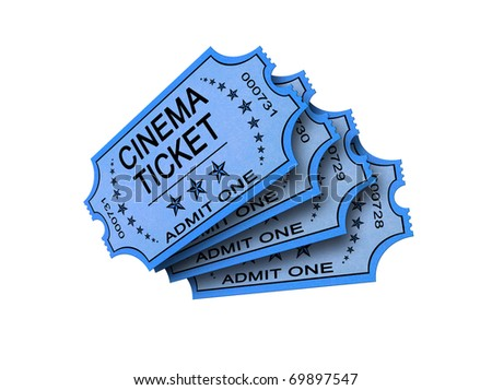 Four Old cinema ticket isolated on white - stock photo