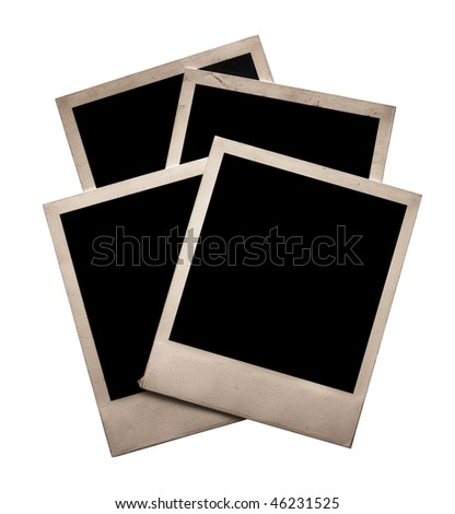 four old photos isolated on white background with clipping path - stock photo