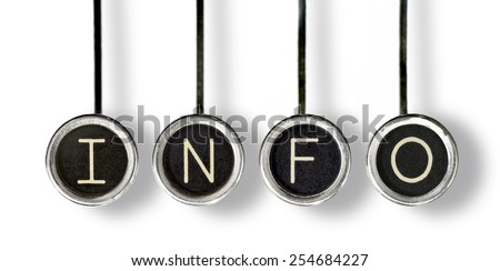 """Four old, scratched chrome typewriter keys with black centers and white letters spelling out """"INFO"""". With drop shadow, isolated on white. - stock photo"""