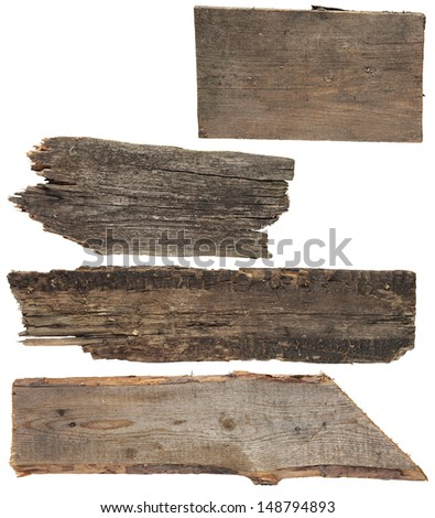 Four old wooden boards isolated on a white background. Old Wood plank, isolated on white background (Save Paths For design work)  - stock photo
