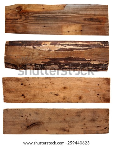 Four old wooden boards isolated on a white background. Old Wood plank, isolated on white background - stock photo