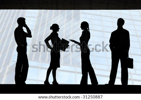 Four outlines of business partners with communicating females between two men - stock photo