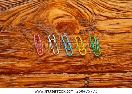 four paper clips - stock photo