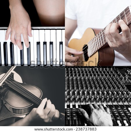 four part of music instruments / piano, guitar, violin, recording studio for music school concept - stock photo
