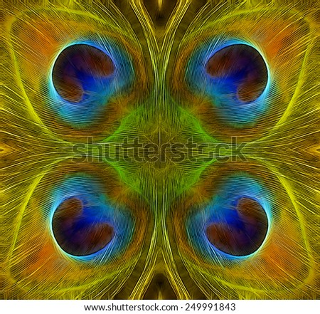 Four Peacock Feathers - stock photo