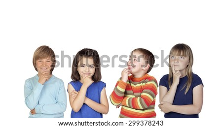 Four pensive children isolated on a white background - stock photo