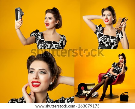 four pictures in one. Pin-up girl - stock photo