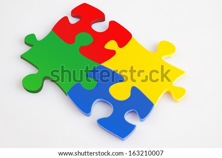 Four pieces of puzzle of color metaphor solution, business concept images - stock photo