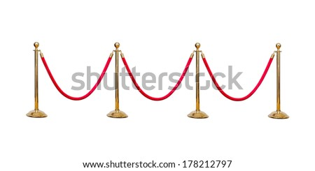 four poles golden barricade isolate on white background - stock photo