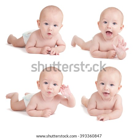 Four portraits of sweet little baby boy - set - stock photo