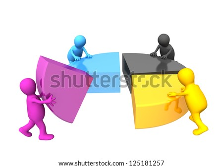 Four puppets collecting a palette CMYK - stock photo