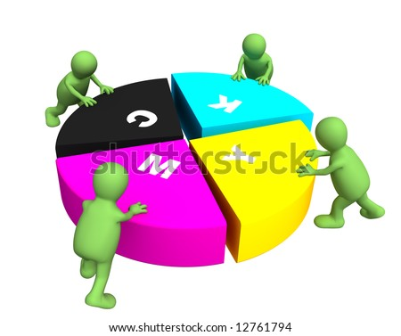 Four puppets collecting a palette CMYK. Object over white - stock photo