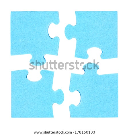 Four  puzzle pieces combined cooperation concept. Isolated on white background  - stock photo