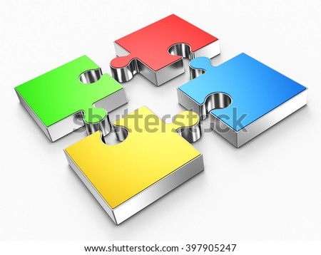 Four puzzle pieces on a white background. 3d rendering. - stock photo