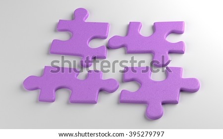 four puzzles. busniess concept. render - stock photo