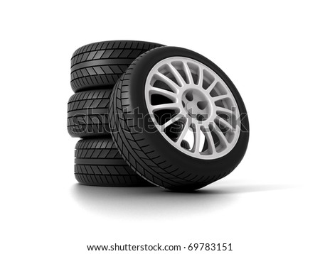 Four Rally Wheels isolated on white. 3D illustration - stock photo
