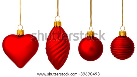 Four red Christmas baubles with gold thread - stock photo