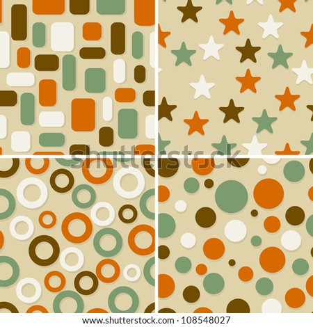 four retro abstract  seamless patterns, can be used as pattern, backgrounds, christmas wrapping paper - stock photo