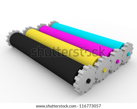 Four rollers for graphic arts inks. Cyan, magenta, yellow and black - stock photo