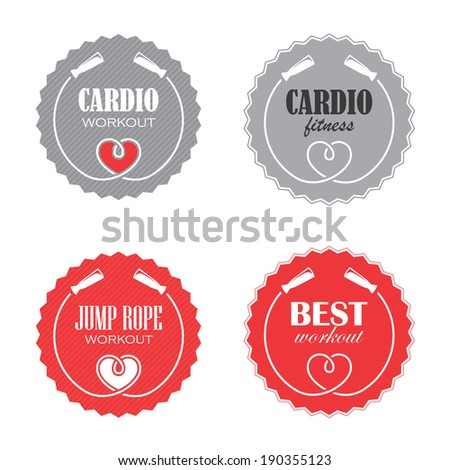 Four round signs with jump rope for cardio fitness - stock photo