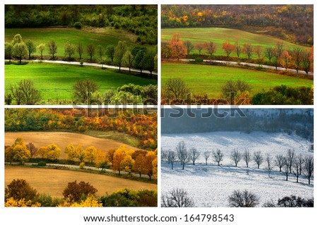 four seasons landscape with countryside views of Preslav.  - stock photo