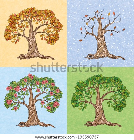 Four seasons summer autumn winter spring  tree wallpaper  illustration - stock photo