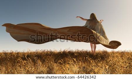 Four Seasons, woman at autumn - stock photo